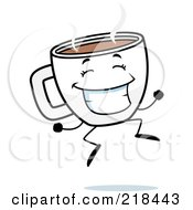 Royalty Free RF Clipart Illustration Of A Happy Cup Of Coffee Jumping by Cory Thoman