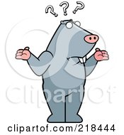 Royalty Free RF Clipart Illustration Of A Confused Mole Shrugging Under Question Marks by Cory Thoman