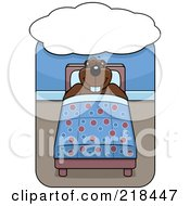 Royalty Free RF Clipart Illustration Of A Beaver Sleeping And Dreaming In Bed