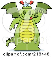 Royalty Free RF Clipart Illustration Of A Big Green Dragon Standing And Waving by Cory Thoman