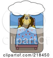 Royalty Free RF Clipart Illustration Of A Big Lion Sleeping And Dreaming In A Bed