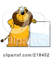 Royalty Free RF Clipart Illustration Of A Big Lion Standing And Leaning Against A Blank Sign Board