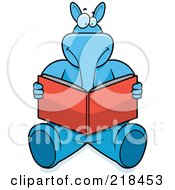 Royalty Free RF Clipart Illustration Of A Blue Aardvark Sitting And Reading A Book by Cory Thoman