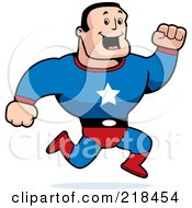 Royalty Free RF Clipart Illustration Of A Strong Running Super Hero Man