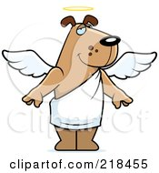 Royalty Free RF Clipart Illustration Of An Angel Dog With A Halo by Cory Thoman