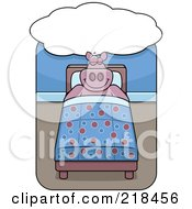 Royalty Free RF Clipart Illustration Of A Big Pink Pig Dreaming And Sleeping In A Bed