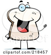 Royalty Free RF Clipart Illustration Of A Bread Slice Smiling And Waving by Cory Thoman