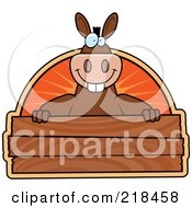 Royalty Free RF Clipart Illustration Of A Big Donkey Smiling Over A Wooden Plaque