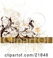 Clipart Picture Illustration Of A Brown Curly Vine Blooming Beautiful Orange Bell Flowers Over A Green And White Grunge Background