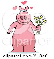Royalty Free RF Clipart Illustration Of A Romantic Pig Standing And Holding Flowers by Cory Thoman