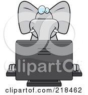 Big Gray Elephant Using A Desktop Computer by Cory Thoman