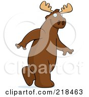 Royalty Free RF Clipart Illustration Of A Big Moose Walking Upright