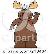 Big Moose Standing And Waving