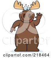 Royalty Free RF Clipart Illustration Of A Big Moose Standing And Waving by Cory Thoman