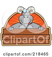 Royalty Free RF Clipart Illustration Of A Big Ram Smiling Over A Blank Wooden Sign