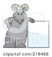 Royalty Free RF Clipart Illustration Of A Big Ram Standing And Leaning Against A Blank Sign Board