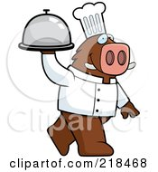 Royalty Free RF Clipart Illustration Of A Chef Boar Carrying A Covered Platter
