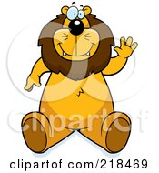 Royalty Free RF Clipart Illustration Of A Big Lion Sitting And Waving