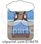 Royalty Free RF Clipart Illustration Of A Big Dog Sleeping In Bed Under A Dream Cloud