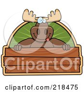 Royalty Free RF Clipart Illustration Of A Big Moose Smiling Over A Wooden Sign