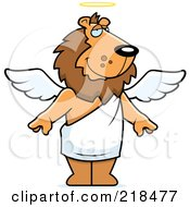 Royalty Free RF Clipart Illustration Of An Angel Lion With White Wings And A Halo