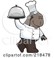 Royalty Free RF Clipart Illustration Of A Chef Ape Carrying A Covered Platter by Cory Thoman
