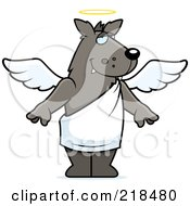 Royalty Free RF Clipart Illustration Of An Angel Wolf With A Halo