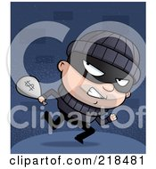 Royalty Free RF Clipart Illustration Of A Bank Robber Looking Back While Carrying A Bag Of Money by Cory Thoman