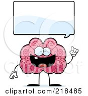 Royalty Free RF Clipart Illustration Of A Smart Brain Under A Word Balloon by Cory Thoman