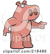 Royalty Free RF Clipart Illustration Of A Mad Pig Angrily Pointing