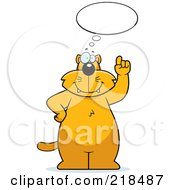 Royalty Free RF Clipart Illustration Of A Big Cat Standing And Thinking