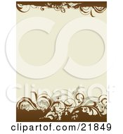 Clipart Picture Illustration Of A Tan Background With Brown Borders On The Top And Bottom With Green And Brown Leavy Vines