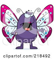 Royalty Free RF Clipart Illustration Of A Mad Butterfly Angrily Pointing by Cory Thoman