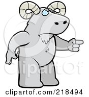 Royalty Free RF Clipart Illustration Of A Mad Ram Angrily Pointing