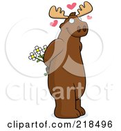 Royalty Free RF Clipart Illustration Of An Infatuated Moose Holding Flowers Behind His Back by Cory Thoman