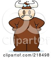 Royalty Free RF Clipart Illustration Of A Big Angry Bull Standing With His Hands On His Hips by Cory Thoman