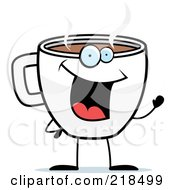 Royalty Free RF Clipart Illustration Of A Cup Of Coffee Smiling And Waving by Cory Thoman