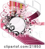 Clipart Picture Illustration Of A Blank Text Space Circle On A Pink Film Strip With Black And Pink Flowers And Vines Over A White Background With Colorful Lines