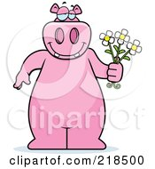 Royalty Free RF Clipart Illustration Of A Big Pink Hippo Holding Daisy Flowers For His Love by Cory Thoman