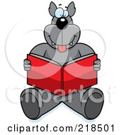 Royalty Free RF Clipart Illustration Of A Big Wolf Sitting And Reading A Book
