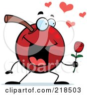 Royalty Free RF Clipart Illustration Of A Romantic Cherry Character Giving A Rose