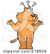 Royalty Free RF Clipart Illustration Of A Confused Cat Shrugging Under Question Marks