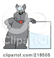 Royalty Free RF Clipart Illustration Of A Big Wolf Standing And Leaning Against A Blank Sign
