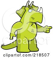 Royalty Free RF Clipart Illustration Of A Mad Triceratops Angrily Pointing