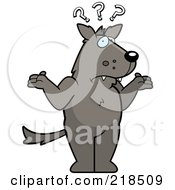 Royalty Free RF Clipart Illustration Of A Confused Wolf Shrugging Under Question Marks