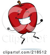 Royalty Free RF Clipart Illustration Of A Happy Jumping Red Apple