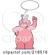 Royalty Free RF Clipart Illustration Of A Big Pink Pig With An Idea Cloud