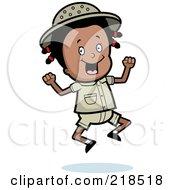 Royalty Free RF Clipart Illustration Of A Black Safari Girl Jumping