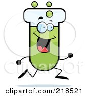 Royalty Free RF Clipart Illustration Of A Happy Test Tube Character Running by Cory Thoman