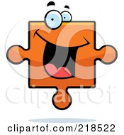 Royalty Free RF Clipart Illustration Of A Happy Orange Puzzle Piece by Cory Thoman